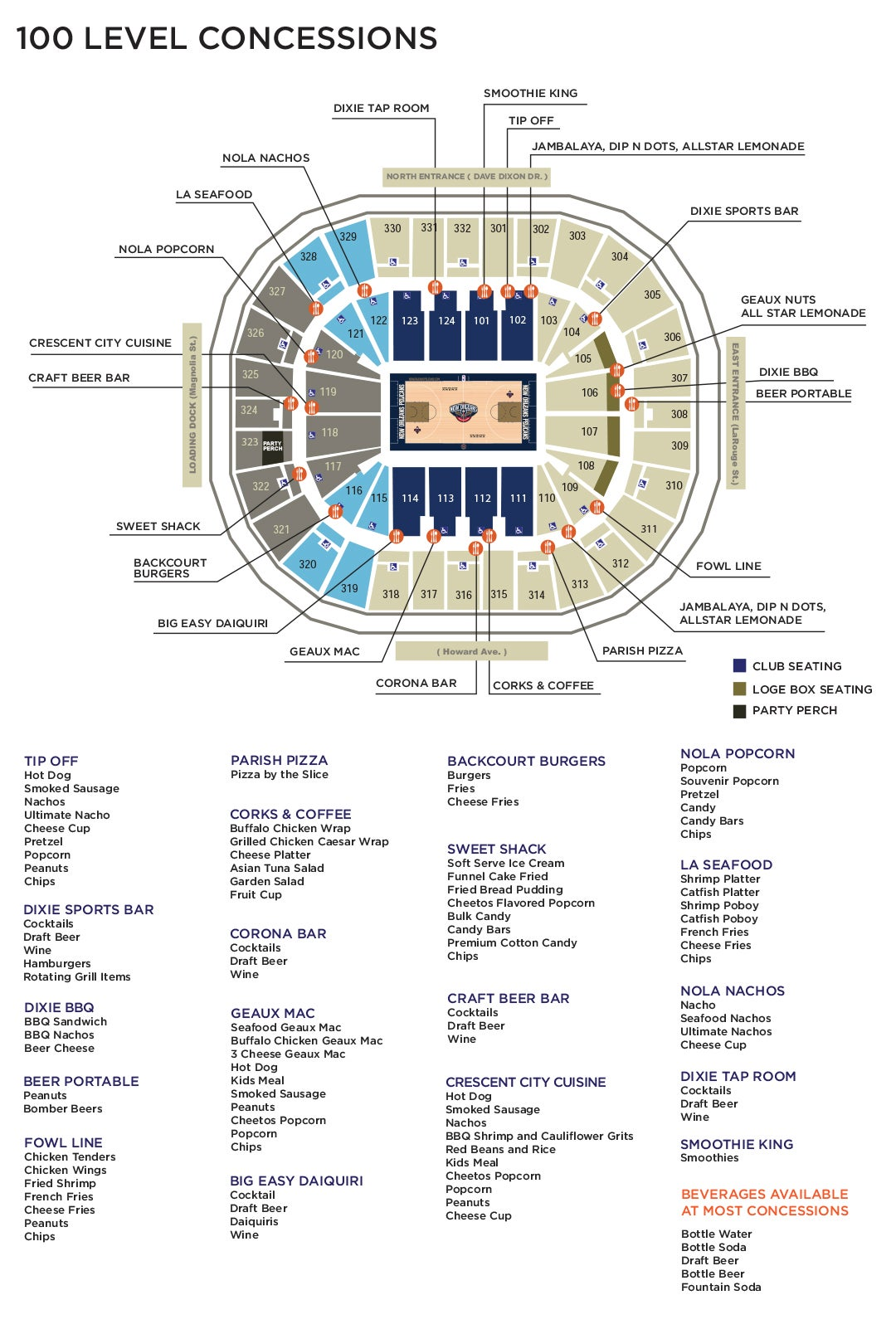 Food And Beverage Smoothie King Center Big  Voucher Map 100 Plaza Level Click Here For Concession